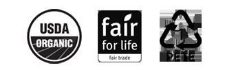 USDA Organic Badge, Fair For Life Badge, PETE Badge