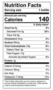 Harmless Harvest Coconut Smoothie Nutritional Label