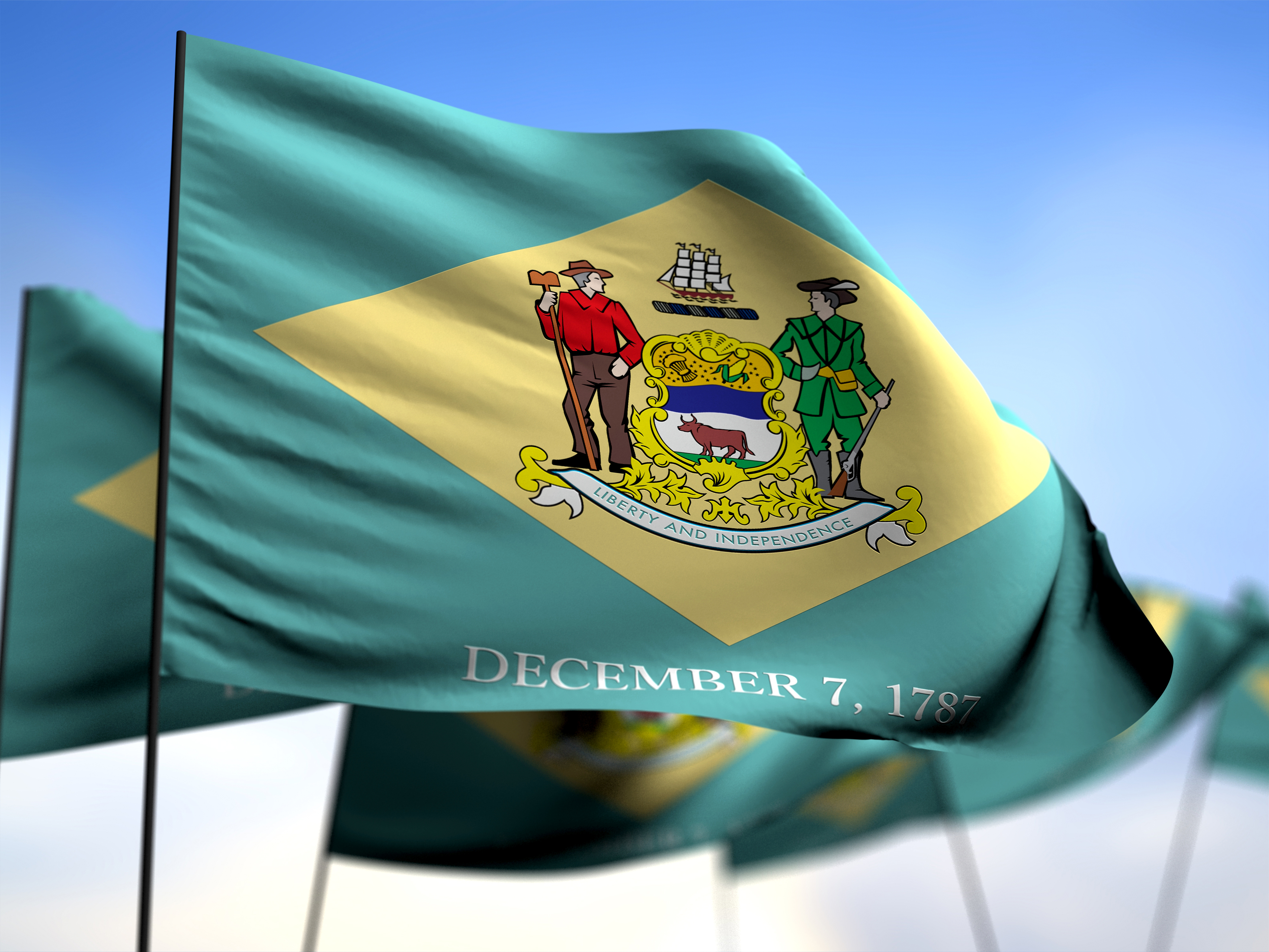 flags of Delaware on blue sky background 3D