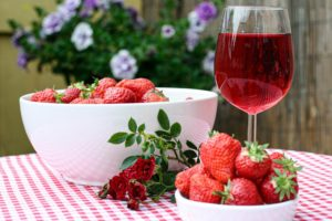 strawberries and wine
