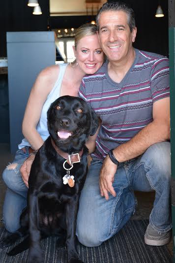 man ,woman and pet dog
