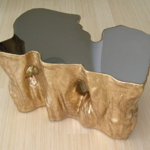 Gilded Polished Mirror Table 20Wx30Lx18H