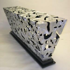 72 inch Silver & Black Diamond Console Table