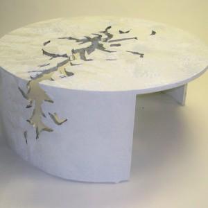 42 Inch Round White Glacier Coffee Table