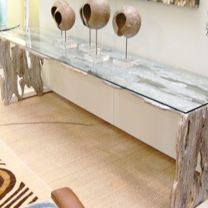 Silver See Through Foyer Table