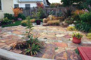 Flagstone patio with water feature