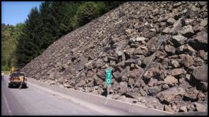 Drapery holding rocky slope.