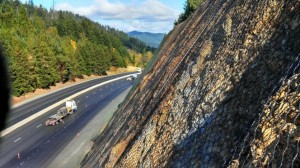 Wire mesh slope to prevent rocks  falling onto the highway