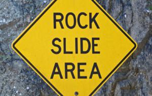 Rockslide possible ahead sign