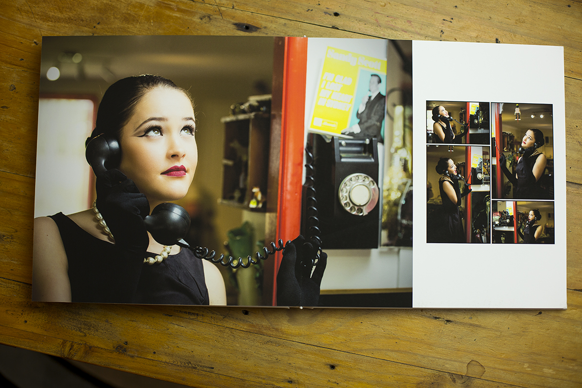 Album spread of model shoot