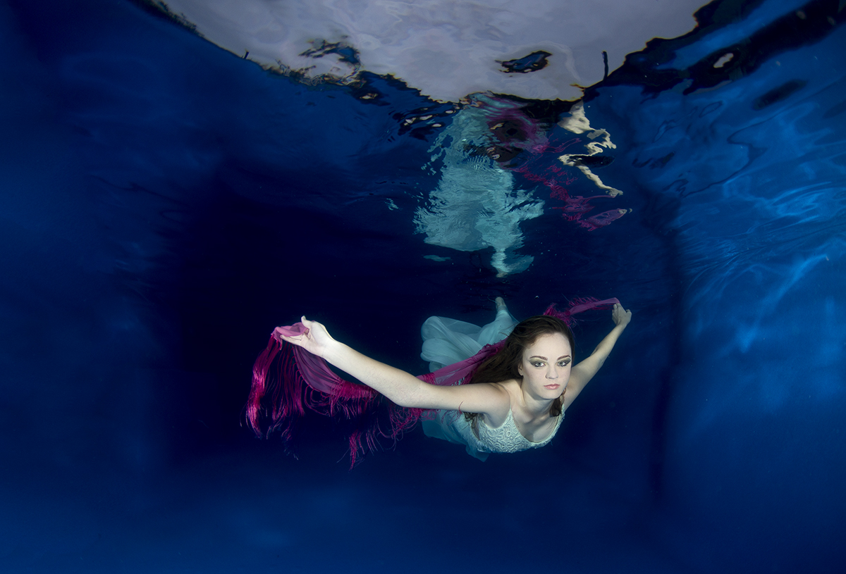 Underwater fashion shoot of a model in a pool