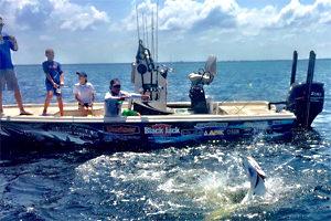 Bo Johnson fights a tarpon off Pine Island Florida