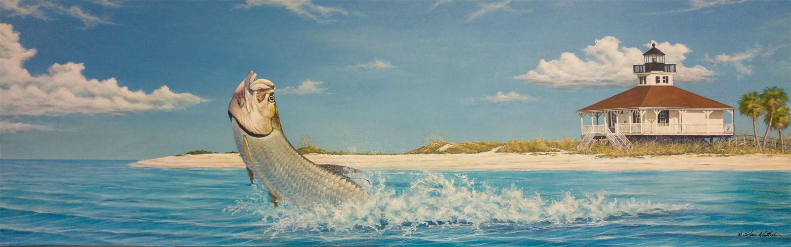 Boca Grande Florida tarpon jumping art by Steve Whitlock