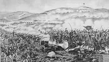 Επίθεση τουρκικού ιππικού εναντίον των Ελλήνων στο Βελεστίνο. Λαϊκή γκραβούρα εποχής