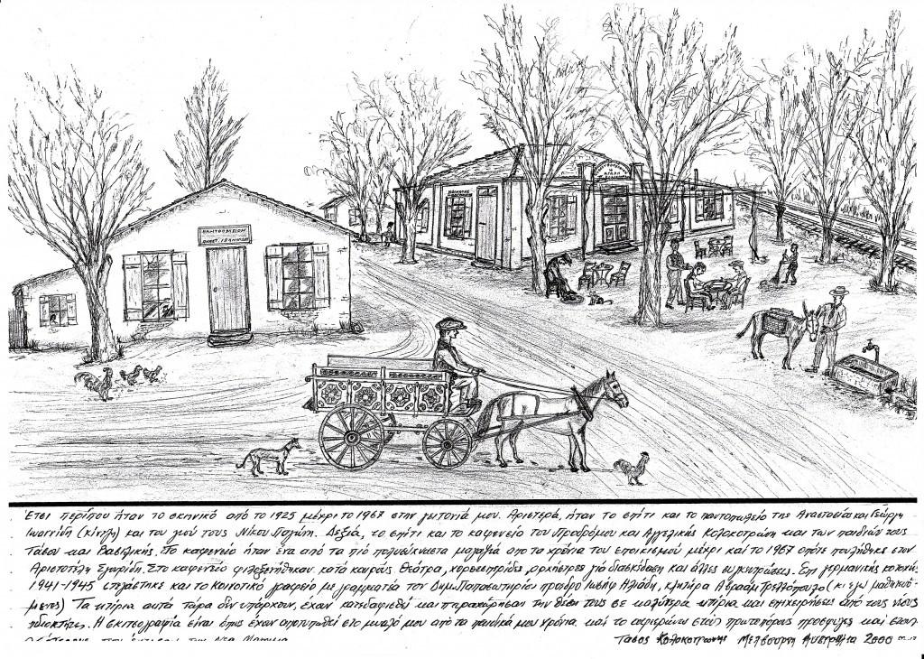 Σκίτσο.  Δεξιά του καφενείου του πατέρα μου με τη μεγάλη αυλή μπροστά  με τις δύο σιδηροδρομικές γραμμές και την εθνική οδό με το σπίτι από το πίσω μέρος. Αριστερά είναι το παντοπωλείο της κυρ' Αναστασίας Ιωαννίδου.