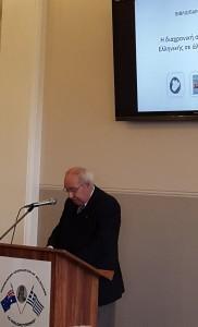 Ο Δρ Γεώργιος Καναράκης κατά την παρουσίαση του βιβλίου στη Μελβούρνη