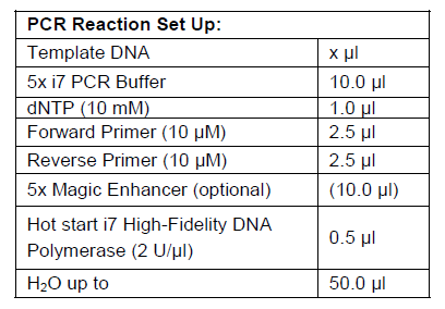 Hot Start High Fidelity DNA Polymerase I7 PCR Reaction Set Up