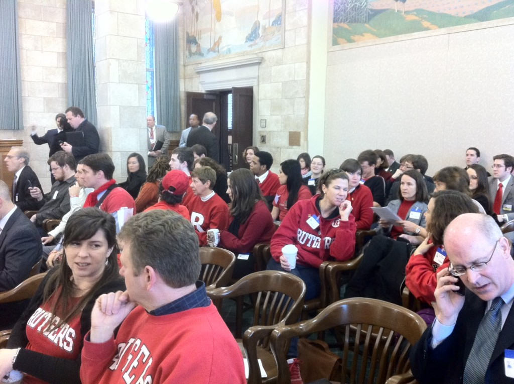 Rutgers students attend a legislative committee hearing in February 2012.