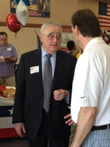 Bob Yudin engaging in last minute campaigning in Hackensack during his last chairman's election.