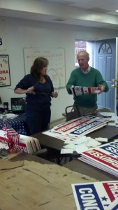 Rodney P. Frelinghuysen assembling his own yard signs