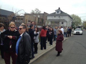A line forming outside of Governor Christie spring 2013 Bergenfield town hall.
