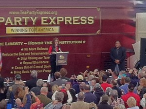 Sarah Palin at Saturday's Lonegan rally in New Egypt, NJ (Photo Credit: Susanne LaFrankie)