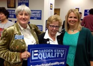 Aimee Belgard (right) with Loretta Weinberg (center)
