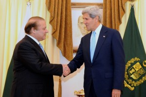John Kerry (right) meets the Pakistani PM.