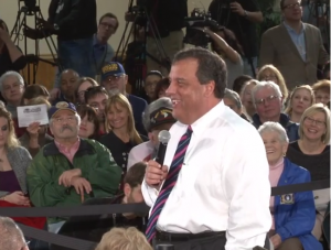 christie laughing at town hall