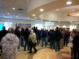 Approximately 50 supporters gather to watch Steve Lonegan launch his CD3 campaign in Toms River. (2/6/14)