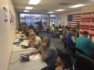 Volunteers making phone calls at MacArthur HQ in Ocean County.