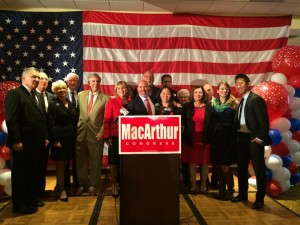 Tom MacArthur (R, NJ-03) delivers his victory speech in Toms River.