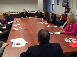 County Executive Dennis Levinson, Freeholder Chairman Frank Formica, Freeholder Will Pauls, Superintendent Phil Guenther meet with Governor Kim Guadagno. (March 20, 2014)
