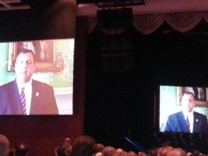 Governor Christie appears remotely at the February 2015 ARV event in Atlantic City.