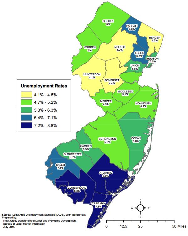 south jersey unemployment map - june 2015