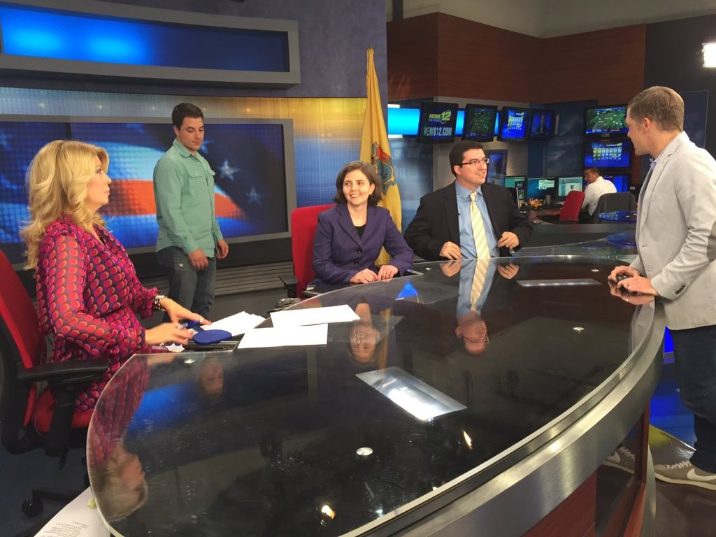 Matt Rooney (second from right) on the 'Power and Politics' set.