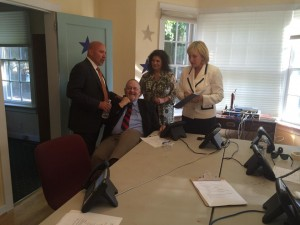 Bob the Caller hanging out with Lieutenant Governor Guadagno, Senator Addiego and Congressional then-House Candidate Tom MacArthur during the 2014 election.