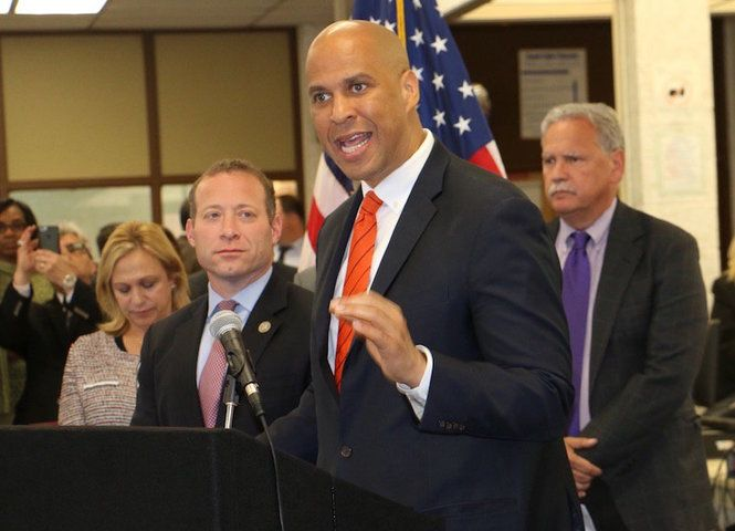 Cory Booker announced legislation Monday he planned on introducing to address lead in drinking water at Hackensack High School.