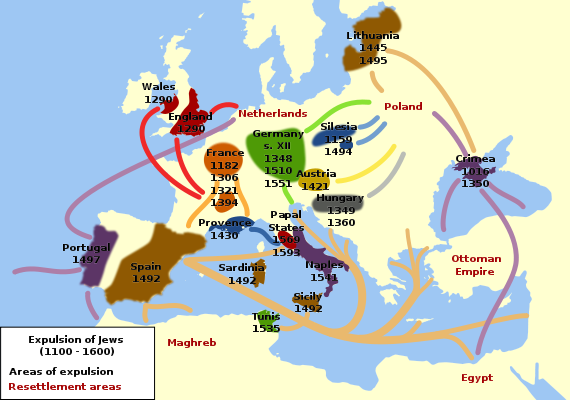 Map of Expulsion of Jews from Europe