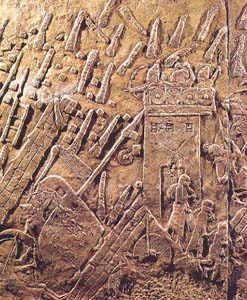 Sennacherib's conquest of Lachish, immortalized in a relief that adorned his palace at Nineveh, in Assyria.