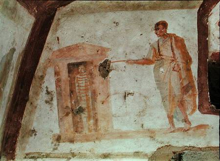 HEL231359 The Raising of Lazarus (fresco) by Paleo-Christian fresco Catacomb of the Giordani, Rome, Italy © Held Collection out of copyright