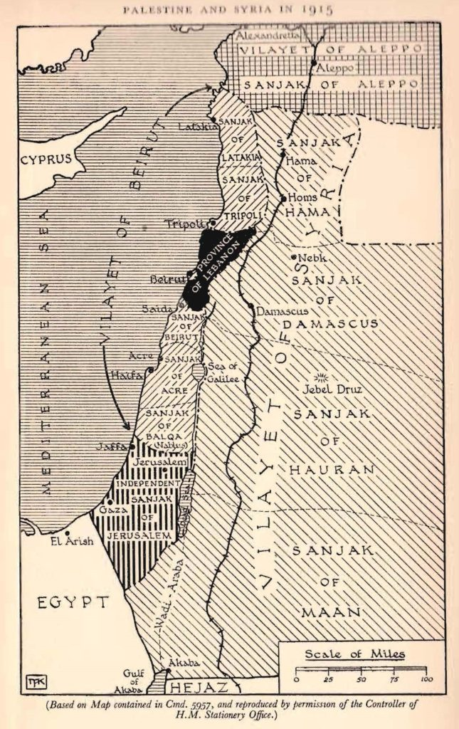 Map of Palestine and Syria 1915