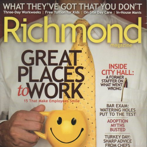 "Cover of ""Richmond"" magazine of Man holding mug with happy face"