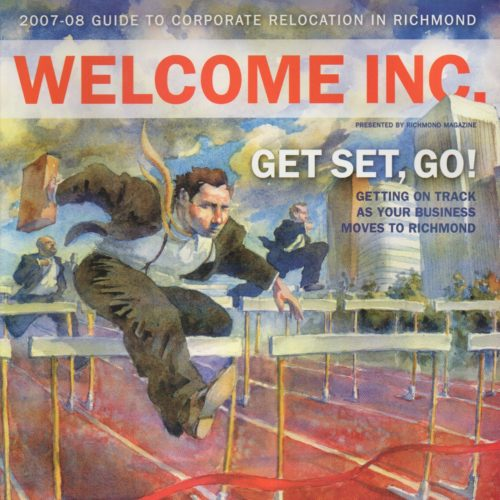 "Cover of ""Welcome"" Magazine of man jumping hurdles"