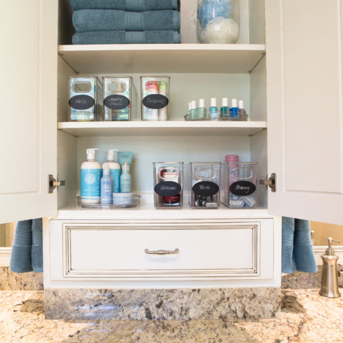 Organized beauty products in bathroom cabinet