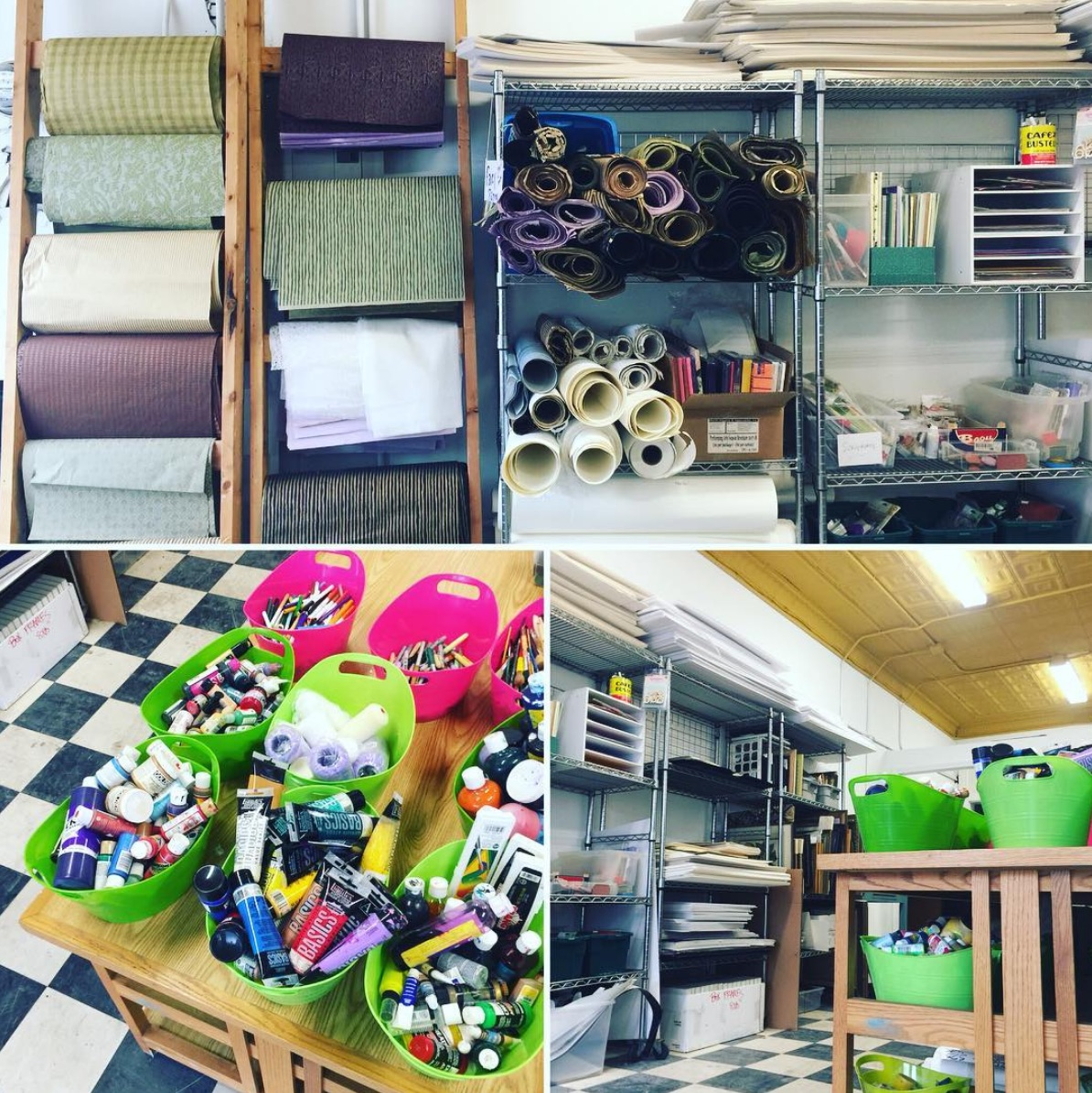 variety of images from ScrapRVA of craft supplies inside the store
