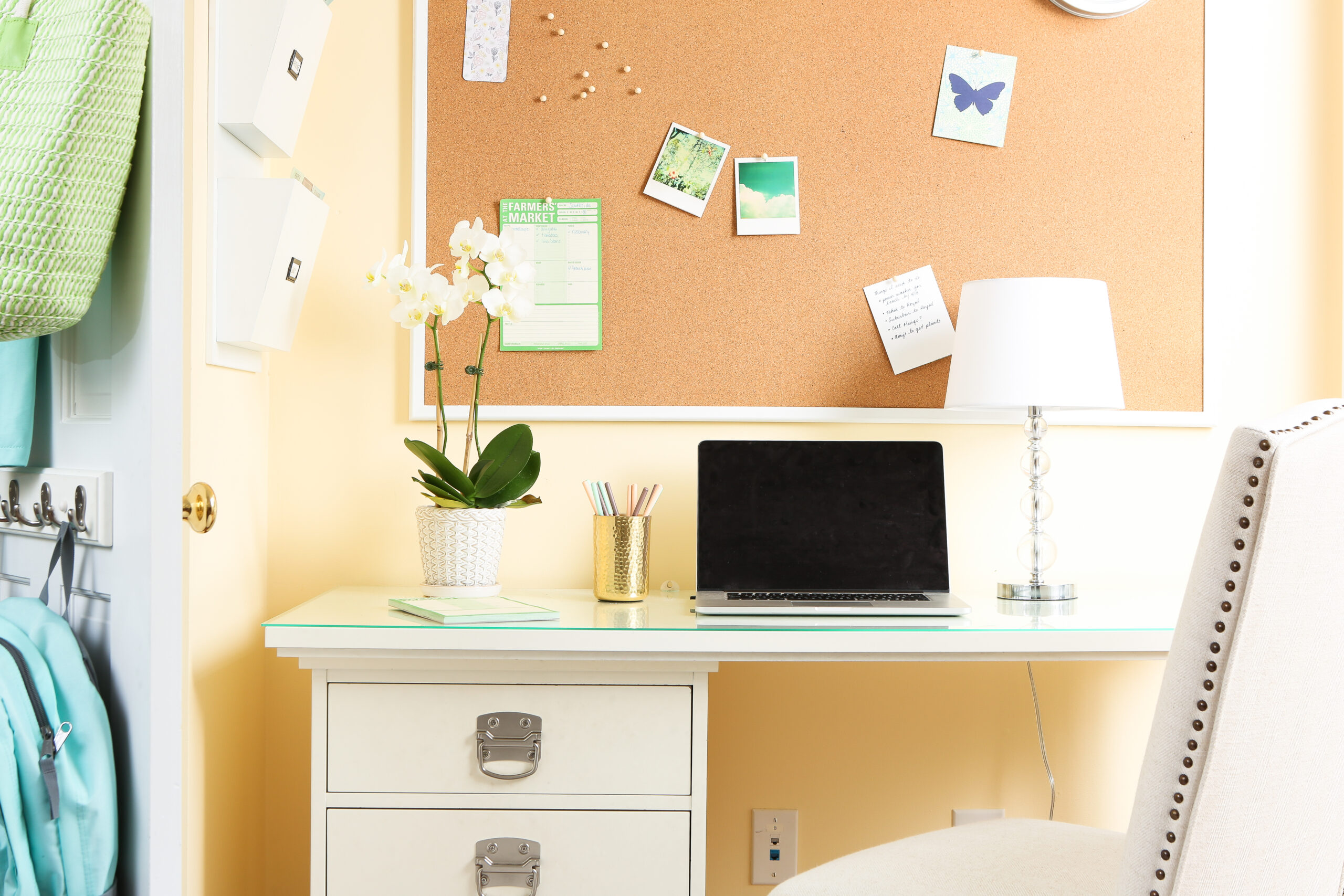 Organized desk with computer and potted plant