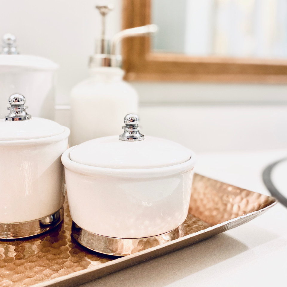 bathroom counter with containers