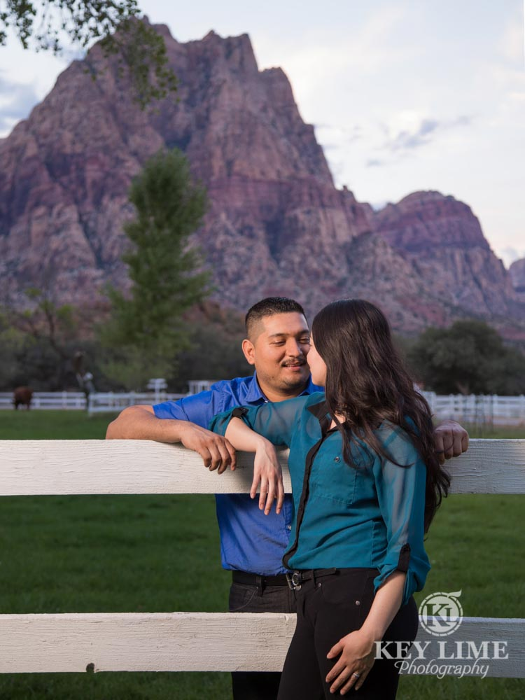 engagement photo of mountain views at spring mountain ranch