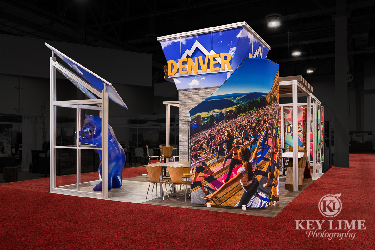 Tradeshow hero photographyby photographer Key Lime Photo in Las Vegas. Blue and white trade show booth design for the City of Denver.
